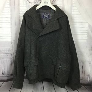 Burberry Vintage Bomber Gray Wool Jacket 48 Reg